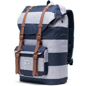 Herschel Little America Mid-Volume Backpack 17L, border stripe/saddle brown